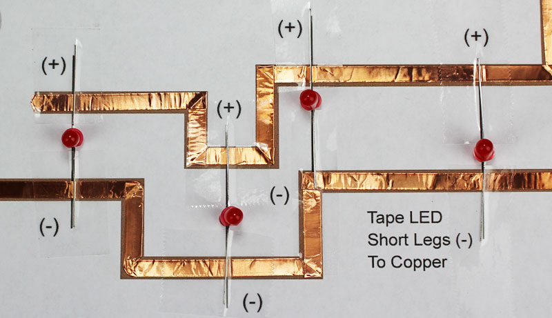leds copper tape christmas paper circuits