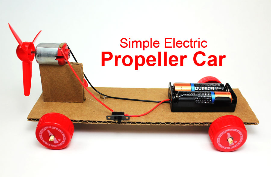Make a simple electric propeller car steam science project for Simple electric motor car project