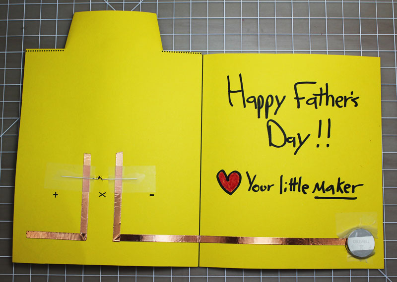 fathers day makerspace paper circuits card