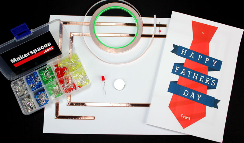 Fathers Day Paper Circuit Light Up Card