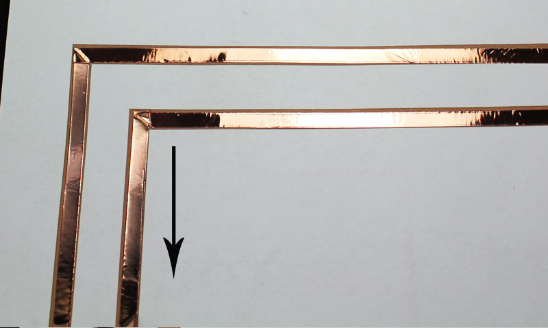 Lastly, you will need to fold the copper tape straight down. It helps if you use your fingernail to make a little indentation at the corner before folding down.