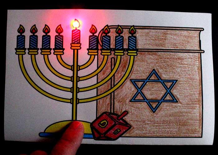 Paper Circuit Menorah Hanukkah Card