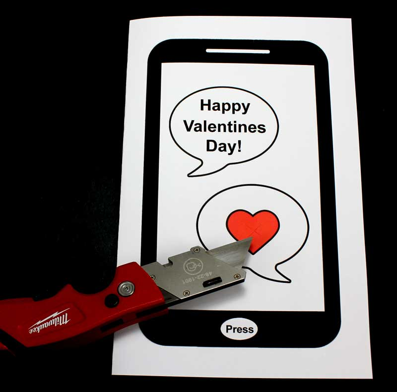 paper circuit valentines day card cut card