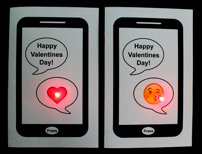 paper circuit valentines day card test circuits