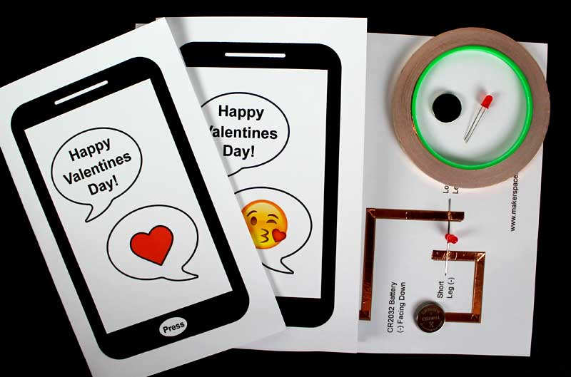 paper circuit valentines day card materials needed