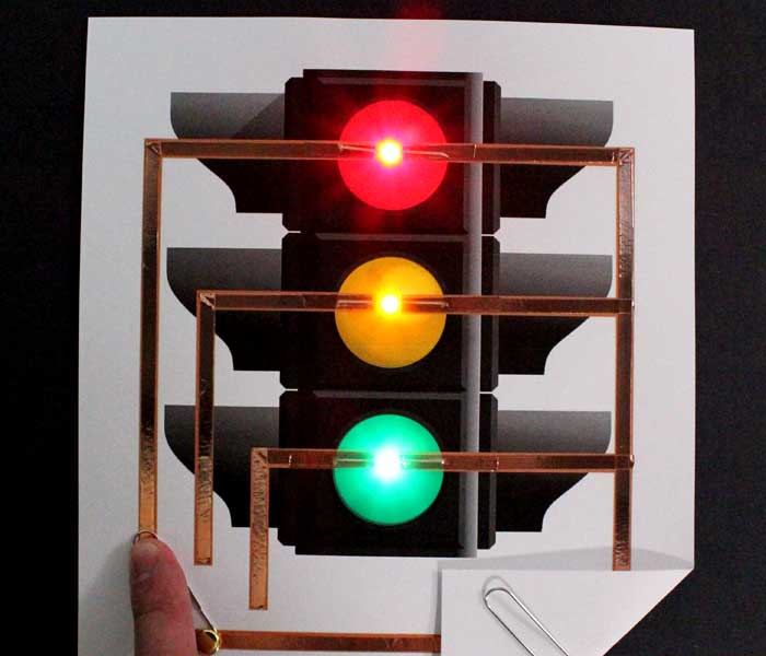 Traffic Light Paper Circuit