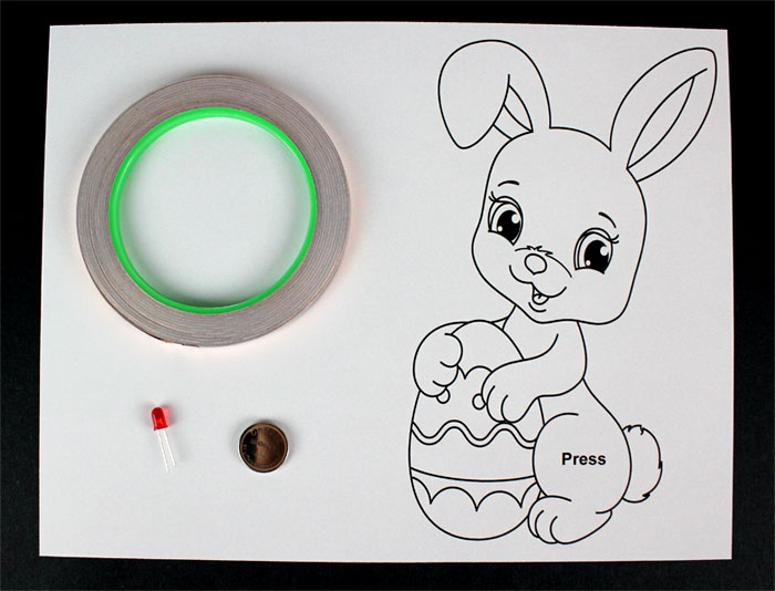 easter bunny paper circuit template