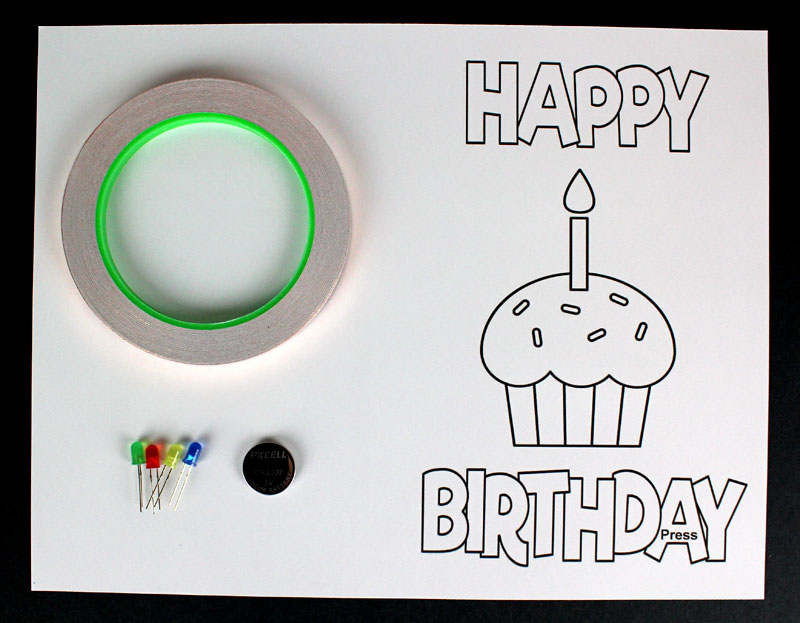 happy birthday light up paper circuit cards