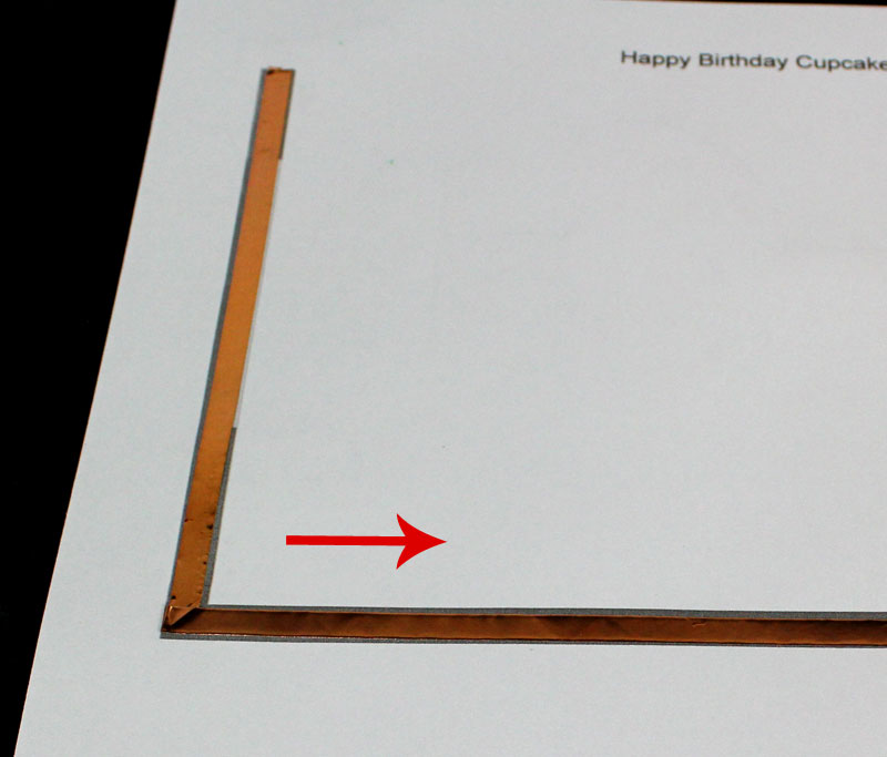 apply conductive copper tape to template