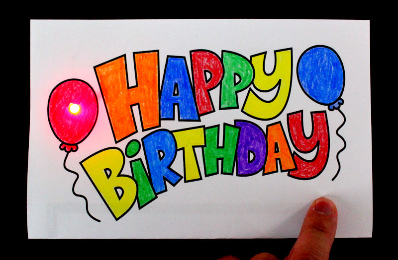 Happy birthday light up card project